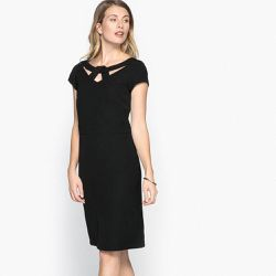 Robe droite, sergé stretch, manches courtes - Anne weyburn - Shopsquare