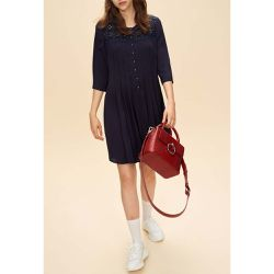 Robe plissée incrustation dentelle - Claudie Pierlot - Shopsquare