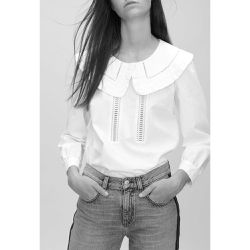 Top col vareuse incrustation dentelle - Claudie Pierlot - Shopsquare