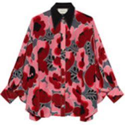 Poppies silk shirt with bow - Gucci - Shopsquare 58b2707ef0b