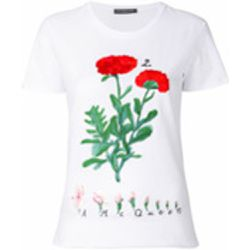 Flower embroidered T-shirt - alexander mcqueen - Shopsquare