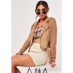 Perfecto court camel en suédine - Missguided - Shopsquare