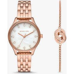 MK Coffret montre Lexington ton or rose et bracelet cercle entrelacé - Michael Kors - Modalova