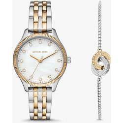 MK Coffret montre bicolore Lexington ton or rose et bracelet cercle entrelacé - Michael Kors - Modalova