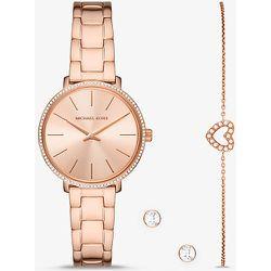 MK Mini montre Pyper ton or rose sertie pavé avec bracelet et clous doreilles  - Michael Kors - Modalova