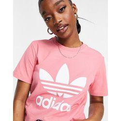 Adicolor - T-shirt avec grand logo au centre - poudré - adidas Originals - Modalova