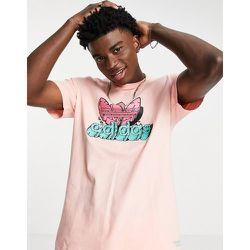 T-shirt à imprimé trèfle graphique - Corail - adidas Originals - Modalova