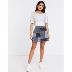 Mini-jupe motif patchwork en jean - Alice & Olivia - Modalova