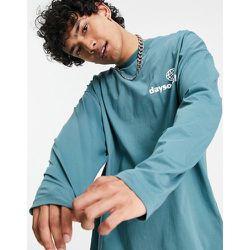 ASOS Daysocial - T-shirt oversize à manches longues avec petit logo blanc sur le devant - sarcelle - ASOS Day Social - Modalova