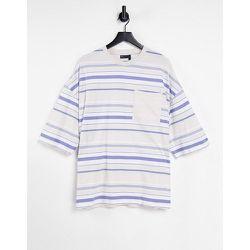 ASOS Daysocial - T-shirt rayé oversizeavec poche sur le devant et logo brodé - ASOS Day Social - Modalova