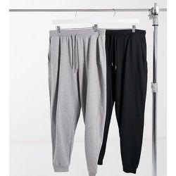ASOS DESIGN Curve - Lot de 2 pantalons de jogging basiques avec cordons - Noir et gris - ASOS Curve - Modalova