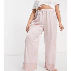 ASOS DESIGN Curve - Pantalon de pyjama satiné avec revers contrasté - Vison - ASOS Curve - Modalova