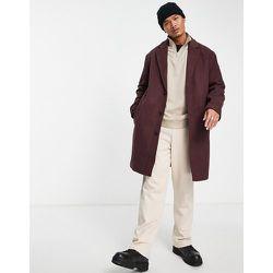 Manteau long coupe décontractée en laine mélangée - Bordeaux - ASOS DESIGN - Modalova