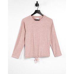 Mix & match - Sweat-shirt confort côtelé ultra doux avec cordon coulissant - Rose sombre - ASOS DESIGN - Modalova