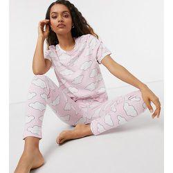 ASOS DESIGN Petite - Exclusivité - Pyjama motif nuages avec t-shirt et legging - ASOS Petite - Modalova