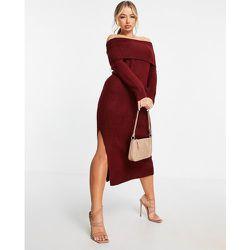 Robe mi-longue en maille à épaules dénudées - foncé - ASOS DESIGN - Modalova