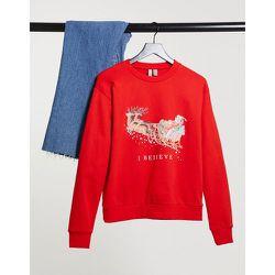 """Sweat-shirt de Noël avec imprimé """"I Believe"""" - ASOS DESIGN - Modalova"""