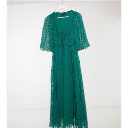 ASOS DESIGN Tall - Robe mi-longue avec laçage et manches évasées à plumetis - forêt - ASOS Tall - Modalova