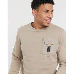 Sweat-shirt ras de cou avec poche - Taupe - Brave Soul - Modalova
