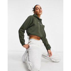 Sweat à capuche court avec logo sur le devant - Kaki - Calvin Klein Jeans - Modalova