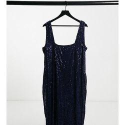 Robe crayon mi-longue à encolure carrée et à sequins - Bleu - Club L London Plus - Modalova
