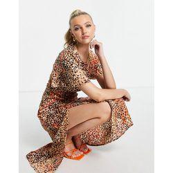 Robe mi-longue fendue sur la jambe à pois - Girl In Mind - Modalova