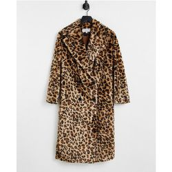 Manteau croisé en fausse fourrure à imprimé léopard - Helene Berman - Modalova