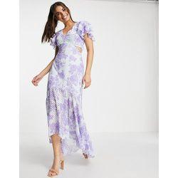 Robe longue avec décolleté plongeant à découpes et imprimé floral - Violet - Lipsy - Modalova