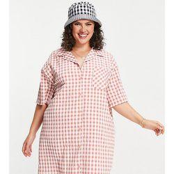Lola May Plus - Robe chemise courte à carreaux vichy avec col à revers - Lola May Curve - Modalova