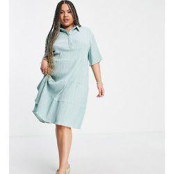 Lola May Plus - Robe chemise courte à smocks - menthe - Lola May Curve - Modalova