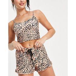 Ensemble de pyjama avec caraco court et short à pois noirs - Pêche - Loungeable - Modalova