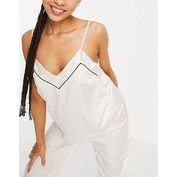 Mix and match - Caraco de pyjama en satin avec passepoils noirs - Crème - Loungeable - Modalova