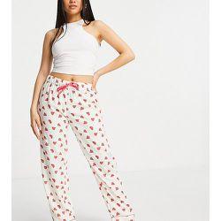 Petite - Bas de pyjama en crêpe de polyester imprimé pastèque - Loungeable - Modalova