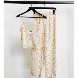 Petite - Pyjama en satin avec pantalon et caraco - Crème à petites fleurs - Loungeable - Modalova