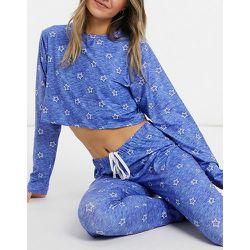 Pyjama court manches longues à imprimé étoiles avec legging assorti - Loungeable - Modalova