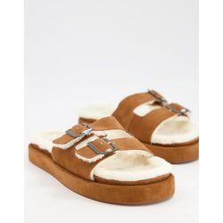 Chaussons confort style mules en daim avec doublure imitation peau de mouton - Fauve - Mango - Modalova