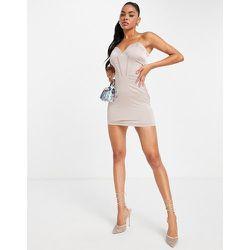 Robe courte style corset en satin - Vison - NaaNaa - Modalova