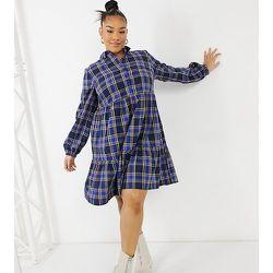 New Look Curve - Robe babydoll courte boutonnée sur le devant à carreaux - New Look Plus - Modalova