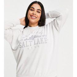 Exclusivité - Sweat-shirt d'ensemble avec motif style universitaire - cassé - Noisy May Curve - Modalova