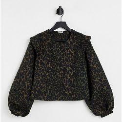 Ela - Veste à manches bouffantes et détail aux épaules avec imprimé léopard foncé - Noisy May - Modalova