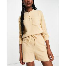 Short d'ensemble en jersey de coton biologique mélangé - Camel - Pieces - Modalova