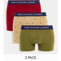 Lot de 3boxers avec ceinture à inscription logo - Rouge/vert/crème à logo joueur de polo - Polo Ralph Lauren - Modalova