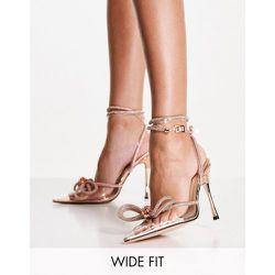 Wide Fit - Midnight - Chaussures à talon avec nœud orné de strass - Or rose - Public Desire - Modalova