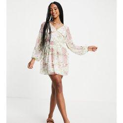 Inspired - Robe courte à volants et imprimé floral effet fendu - Reclaimed Vintage - Modalova