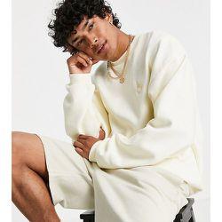 Inspired - Sweat-shirt décontracté en coton biologique avec broderie logo loup - Écru - Reclaimed Vintage - Modalova