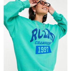 Inspired - Sweat-shirt unisexe effet envers avec logo imprimé - Turquoise - Reclaimed Vintage - Modalova
