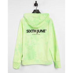 Hoodie unisexe oversize d'ensemble avec logo sur le devant - citron délavé - Sixth June - Modalova