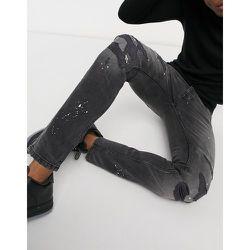 - Jean skinnyen coton biologique avec effet éclaboussures de peinture - Noir délavé vintage - Topman - Modalova
