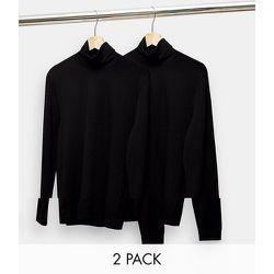Lot de 2 t-shirts manches longues à col roulé - Noir - Topman - Modalova