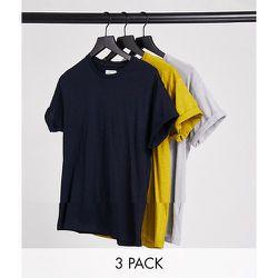 Lot de 3t-shirts ajustés à manches retroussées - Topman - Modalova